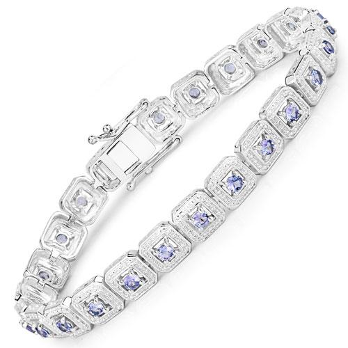 2.40CTW Genuine Tanzanite .925 Sterling Silver Bracelet