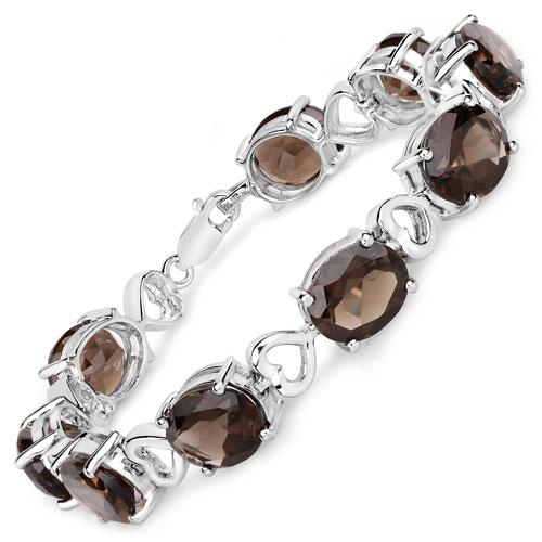 27.00CTW Genuine Smoky Topaz .925 Sterling Silver Bracelet
