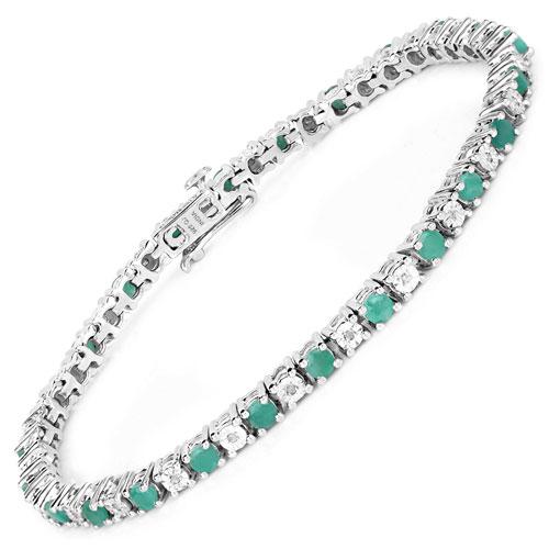 2.73CTW Genuine Emerald & White Diamond .925 Sterling Silver Bracelet