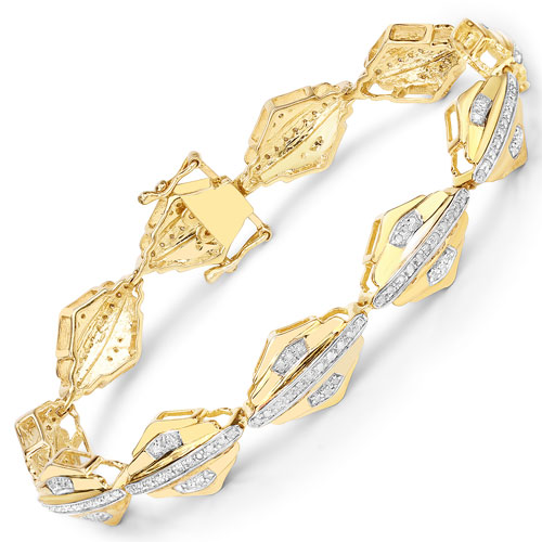 1.07CTW Genuine White Diamond 14K Yellow Gold Plated .925 Sterling Silver Bracelet