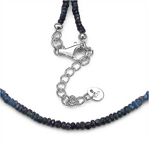 58.35CTW Shaded Blue Sapphire Faceted Bati 47CM Long & 5CM Extendable .925 Sterling Silver Beads Necklace