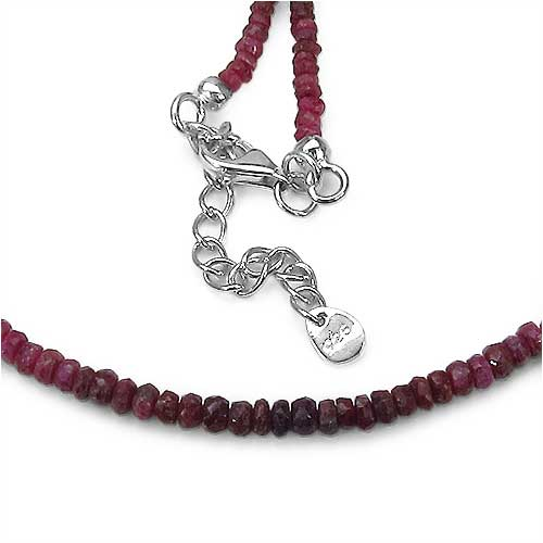 """53.25CTW Shaded Emerald, Ruby, Sapphire Faceted Bati 47CM Long & 5CM Extendable .925 Sterling Silver Beads Necklace"""