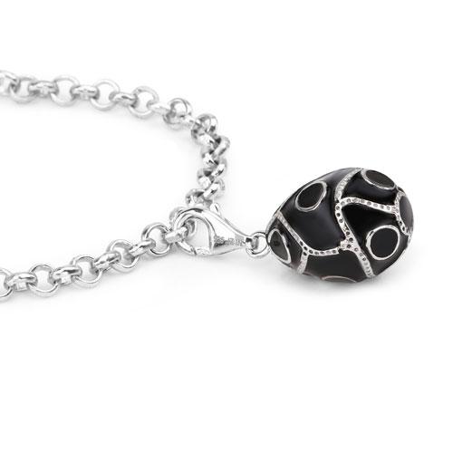 10.14 Grams .925 Sterling Silver Black Enamel Charm Bracelet
