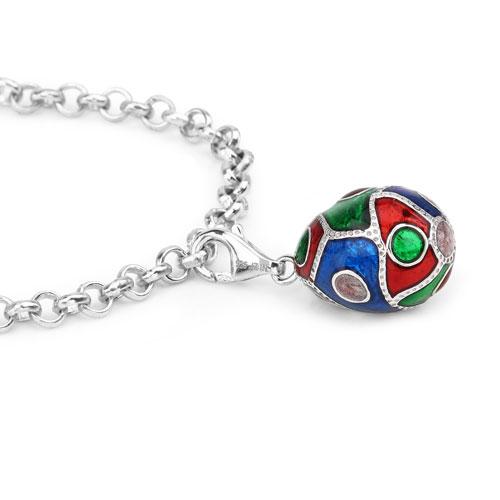"""9.97 Grams .925 Sterling Silver Blue, Green & Red Enamel Charm Bracelet"""