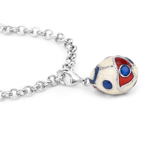 10.04 Grams .925 Sterling Silver Multicolor Enamel Charm Bracelet