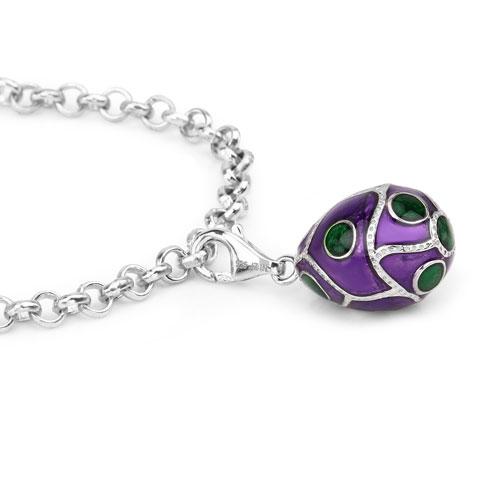 10.57 Grams .925 Sterling Silver Purple & Green Enamel Charm Bracelet