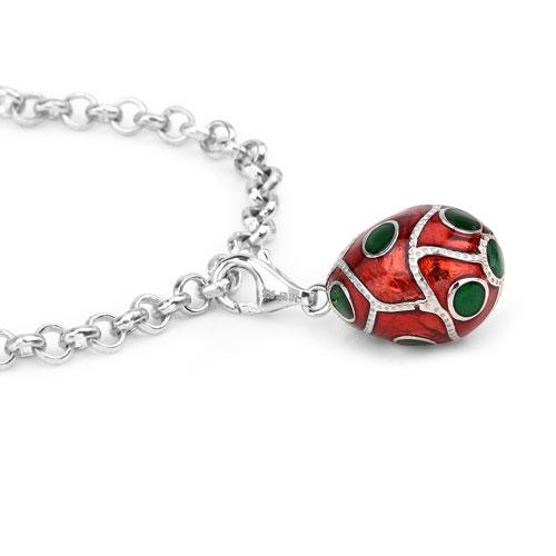 10.52 Grams .925 Sterling Silver Red & Green Enamel Charm Bracelet