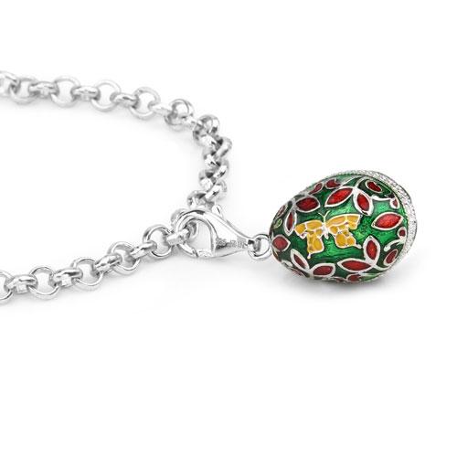 11.93 Grams .925 Sterling Silver Multicolor Enamel Charm Bracelet
