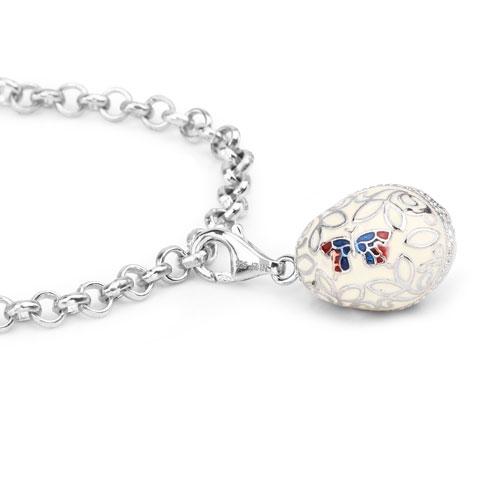11.58 Grams .925 Sterling Silver Multicolor Enamel Charm Bracelet