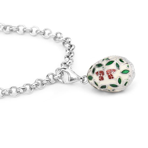 11.64 Grams .925 Sterling Silver Multicolor Enamel Charm Bracelet