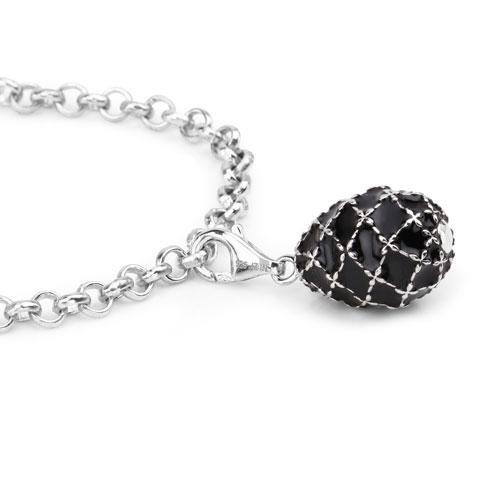 12.54 Grams .925 Sterling Silver Black Enamel Charm Bracelet