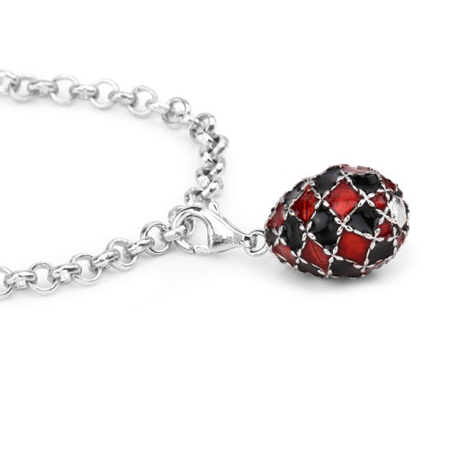 12.71 Grams .925 Sterling Silver Black & Orange Enamel Charm Bracelet