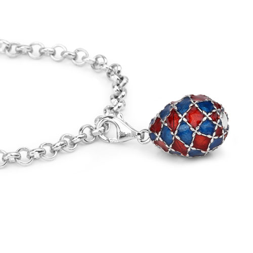 12.22 Grams .925 Sterling Silver Blue & Red Enamel Charm Bracelet