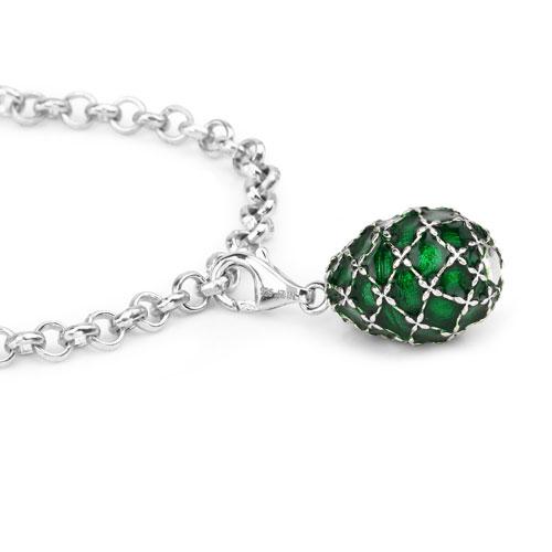 12.39 Grams .925 Sterling Silver Green Enamel Charm Bracelet
