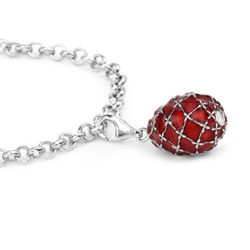 13.08 Grams .925 Sterling Silver Orange Enamel Charm Bracelet