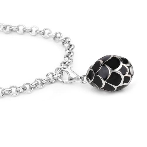 12.64 Grams .925 Sterling Silver Black Enamel Charm Bracelet