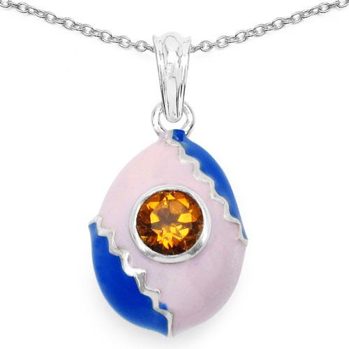 Enamelour Genuine Citrine Drop Shape .925 Sterling Silver Blue & Pink Enamel Charms Pendant
