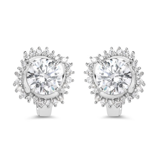 BridalMe 14.18CTW White Cubic Zirconia .925 Sterling Silver Earrings