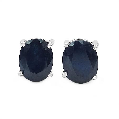 1.60CTW Genuine Blue Sapphire .925 Sterling Silver Earrings