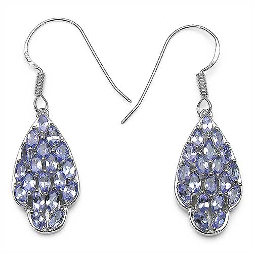 2.66CTW Genuine Tanzanite .925 Sterling Silver Earrings