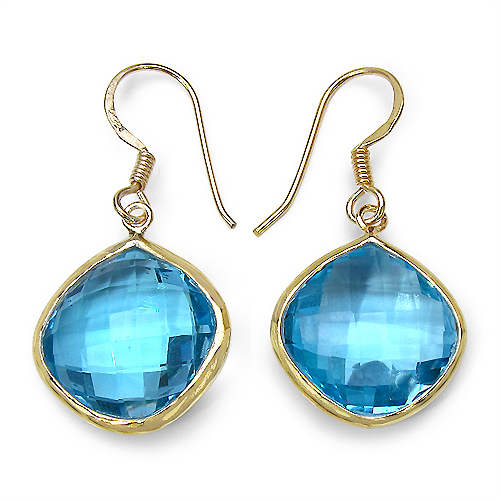 37.22CTW Genuine Blue Topaz 14K Yellow Gold Plated .925 Sterling Silver Earrings