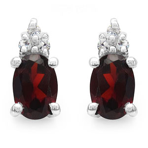 1.38CTW Genuine Garnet & White Cubic Zirconia .925 Sterling Silver Earrings
