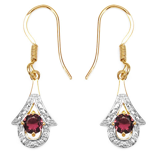 1.20CTW Genuine Pink Tourmaline 14K Yellow Gold Plated .925 Sterling Silver Earrings