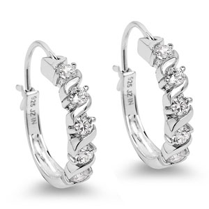 BridalMe 2.20CTW White Cubic Zirconia .925 Sterling Silver Hoops Earrings