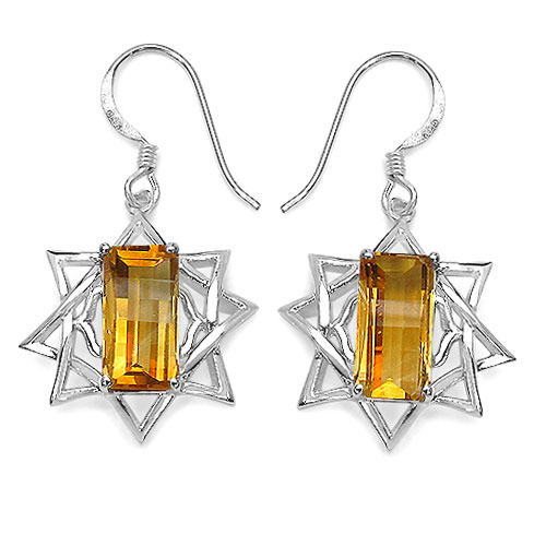 5.95CTW Fancy Shape Genuine Citrine .925 Sterling Silver Earrings