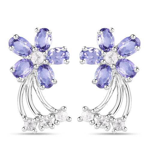 1.98CTW Tanzanite .925 Sterling Silver Floral Shape Earrings