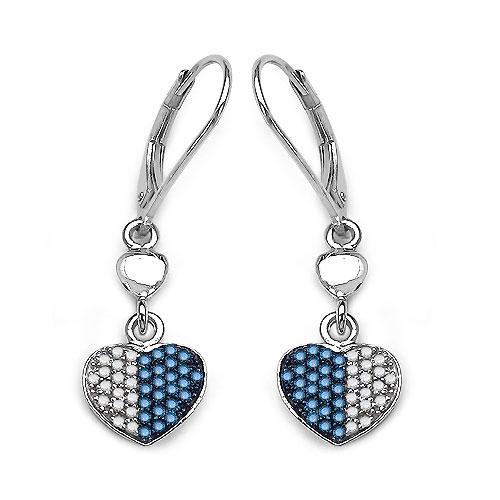 0.45CTW Genuine Blue Diamond & White Diamond .925 Sterling Silver Heart Shape Earrings