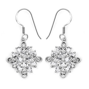 BridalMe 6.40CTW White Cubic Zirconia .925 Sterling Silver Dangle Earrings