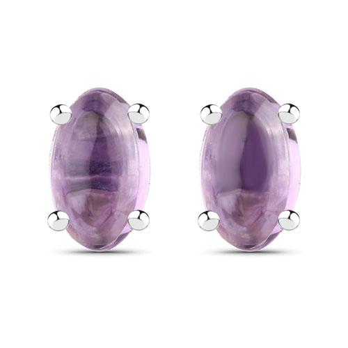 0.52CTW Amethyst .925 Sterling Silver Oval Shape Earrings