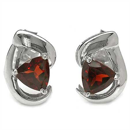 1.00CTW Genuine Garnet .925 Sterling Silver Earrings