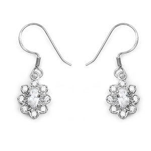 BridalMe 2.40CTW White Cubic Zirconia .925 Sterling Silver Dangle Earrings