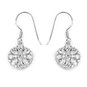 BridalMe 6.78CTW White Cubic Zirconia .925 Sterling Silver Dangle Earrings