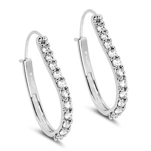 BridalMe 4.84CTW White Cubic Zirconia .925 Sterling Silver Hoops Earrings