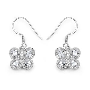 BridalMe 5.48CTW White Cubic Zirconia .925 Sterling Silver Dangle Earrings