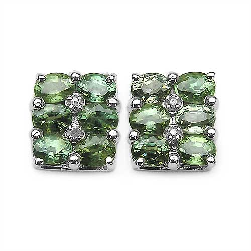 3.02CTW Green Sapphire & Diamond .925 Sterling Silver Earrings