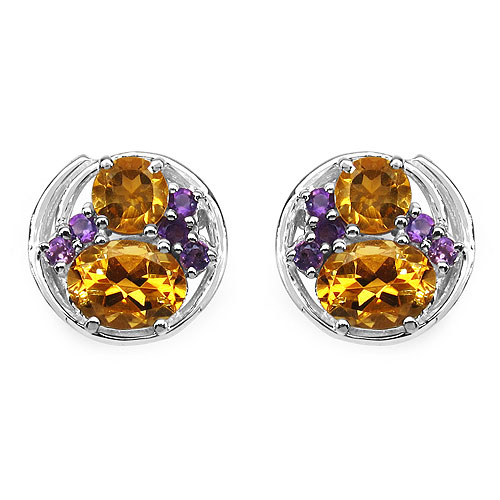 3.90CTW Genuine Citrine & Amethyst .925 Sterling Silver Earrings