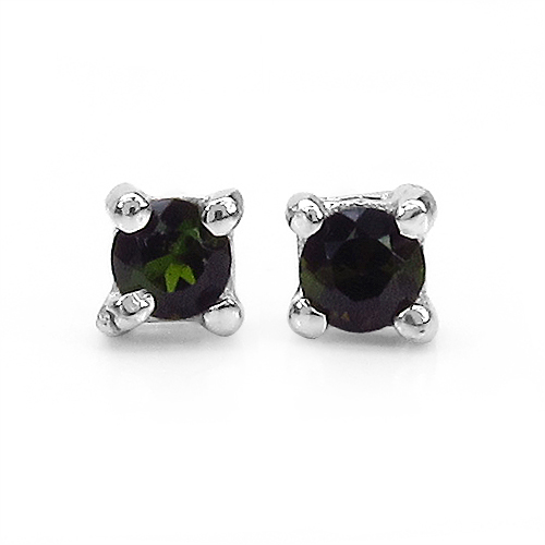 0.24CTW Genuine Green Tourmaline .925 Sterling Silver Earrings