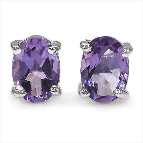 1.70CTW Genuine Amethyst Oval Shaped .925 Sterling Silver Studs