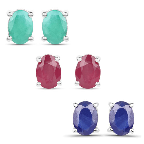 """5.30CTW Genuine Emerald, Glass Filled Ruby & Glass Filled Sapphire .925 Sterling Silver Studs Earrings"""