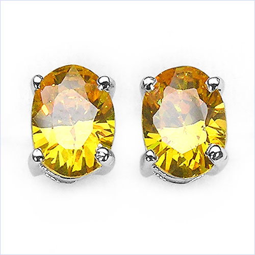 3.12CTW .925 Sterling Silver Yellow Cubic Zirconia Earrings