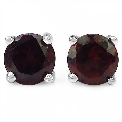 1.20CTW Genuine Garnet Round Shaped .925 Sterling Silver Studs
