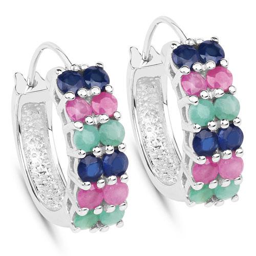 """""""2.80CTW Emerald, Ruby & Blue Sapphire .925 Sterling Silver Earrings"""""""