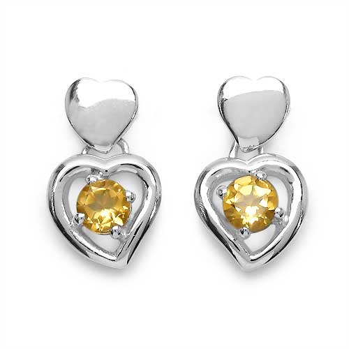 1.80CTW Genuine Citrine .925 Sterling Silver Earrings
