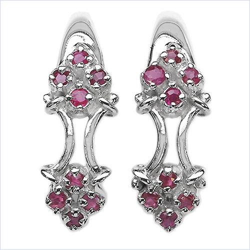 0.80CTW Ruby .925 Sterling Silver Earrings