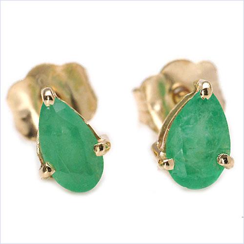 0.44 CTW Pears Shape Genuine Emerald 10K Yellow Gold Earrings