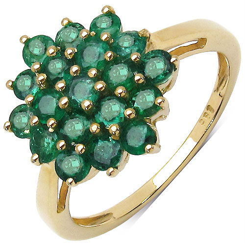 1.36CTW Genuine Emerald 14K Yellow Gold Ring